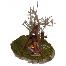 Flackerlicht auf einer Holzscheibe mit Zaun und Busch 230 Volt Beleuchtung